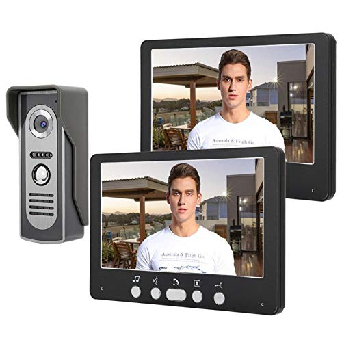 Wosune TFT 2 monitores Timbre, Sistema de Timbre con Video, cámara ultradelgada(European Standard (110-240V))