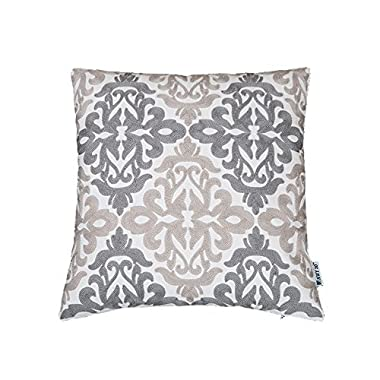 HWY 50 Grey Throw Pillows Covers For Couch Sofa Bed 18 x 18 inch, 1 Piece Cotton Embroidered Decorative Throw Pillows Cases, Euro Farmhouse Gray Decor Floral Geometric Cushion Covers