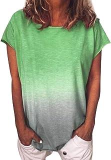 Dubocu Women T-Shirt Gradient Color Crew Neck Short Sleeve Summer Loose Casual Tunic Blouse Tops