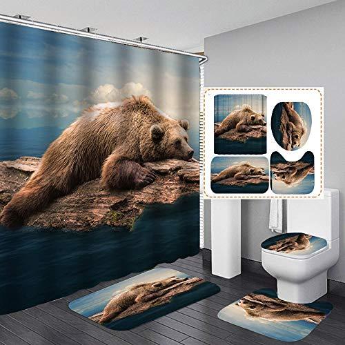 chuanglanja douchegordijnen waterdicht toilet van polyester voor douche, set uit vier delen, dierenprint 180 x 180 cm