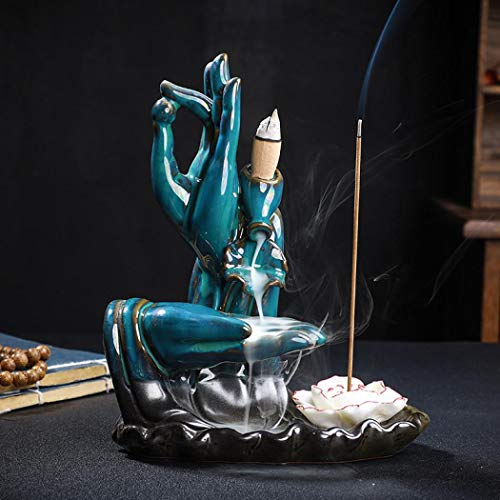 Keramik-Räucherkegel im Lotus-Design, Wasserfall-Räucherstäbchenhalter, Heimdekoration mit 10 Räucherkegeln (blau)
