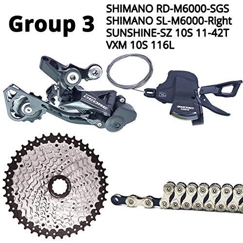 Haute Qualité Shimano Deore M6000 10 Vitesses VTT Vélo Dérailleurs Groupe Transmission Cassette HG500 HG54 KMC Chaîne X10 Sunrace 11-42T (Color : Group 3)