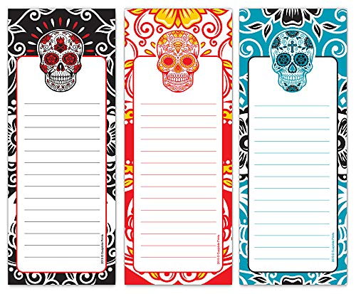 Guajolote Prints Magnetic Notepads for Refrigerator, Flower Skulls Designs, List Pad, Shopping Pads, 3-Pack, 3.5 x 9 Inches, 50 Sheets Per Notepad.
