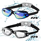 COOLOO Kids Swimming Goggles, 2 Packs Crystal Clear Swim Goggles for Kids, Children, Boys, Girls, and Teens Age 3-15, Anti-Fog, Waterproof, No Leaking