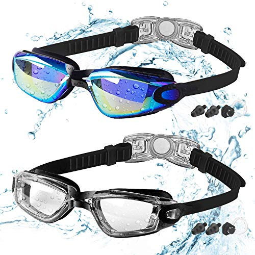 COOLOO Kids Swimming Goggles, 2 Packs Crystal Clear Swim Goggles for Kids,...