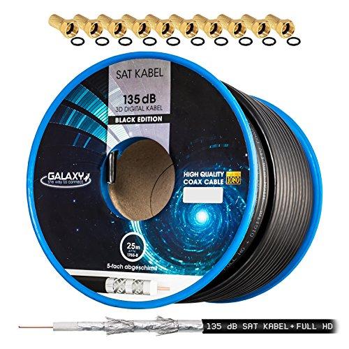 135dB 25m HB DIGITAL Koaxial SAT Kabel 5-Fach geschirmt Schwarz für Ultra HD 4K DVB-S / S2 DVB-C und DVB-T BK Anlagen + 10 vergoldete F-Stecker Set Gratis dazu