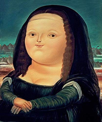Canvas Painting Funny Cartoon Fat Mona Lisa Painting Posters Print Picture Wall Art for Living Room Bed Room Nordic Cuadros Salon Tableaux Decor ( Color : HZ9427 , Size (Inch) : 20X25 cm unframed )