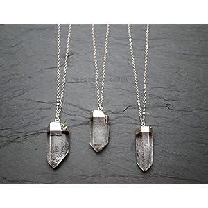 Raw Quartz Pendant Necklace - Sterling Silver