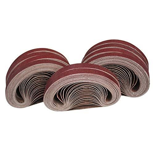 Ecarke 70pcs Sanding Belts 3/8'x13' Grinding Aluminium Oxide Sanding Belt Sandpaper 40/60/80/100/120/180/320 Grit Compatble with 10x330mm Portable Belt Sander.