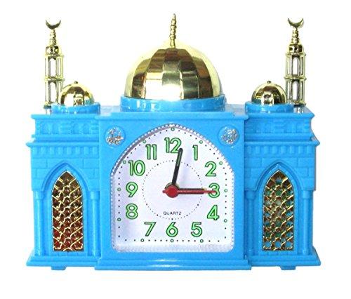 Moschee-Form Wecker - Batteriewecker Moschee - Spielt islamischen Gebetsruf, wenn der Alarm ertönt (Blau)