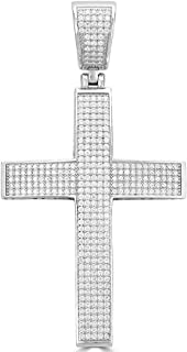 Harlembling Solid 925 Sterling Silver Iced Out Cross Pendant - Men's - 2x1.5 20 Grams - Fits Up to 8mm Chains!