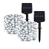 Hemasxing Solar String Lights Outdoor Waterproof 2 Pack 100 LED 33ft White Solar Fairy Lights 8 Modes Copper Wire Solar Powered Fairy Lights for Garden Patio Yard Christmas Decoration