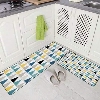 OPLJ Felpudo de baño Alfombra geométrica de Cocina Alfombras nórdicas Antideslizantes para Sala de Estar Balcón Juego de alfombras de baño A6 50x80cm