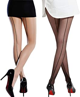 Value Package!2 Pack Sexy Sheer Stretchy Fashion Pantyhose Stockings Come With Pretty Gift Box