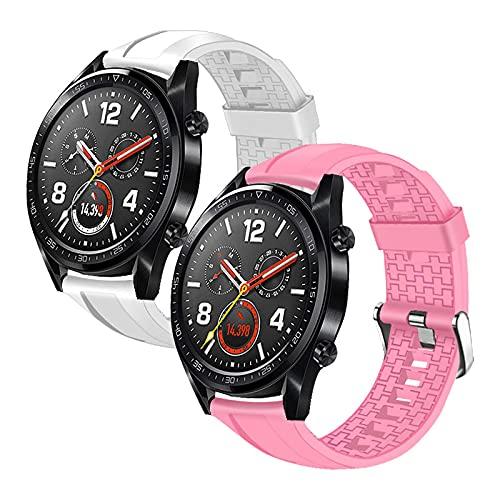 2Pack Correa Compatible con Huawei Watch GT2 46mm/Watch GT 46mm/Watch GT Active/Watch 2 Pro/Honor Watch Magic/Galaxy Watch 46mm/Gear S3/Gear 2,22mm Silicona Correa de Repuesto Pulsera,Blanco+Rosa