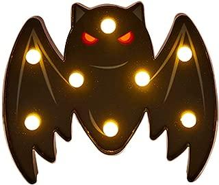 Coolgun Halloween LED Night Light- Pumpkin Spider Bat Ghost Skull Head Witch Sign Battery Powered Night Lights up for Kids Room,Bar,Party,Halloween,Christmas,as Kids Gift (bat)