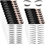 18 Sheets 4D Hair-Like Authentic Eyebrows Waterproof Eyebrow Tattoo Stickers Eyebrow Transfers Stickers Eyebrow Grooming Shaping Makeup Sticker for Women Girls, 9 Styles 180 Pairs (Black)