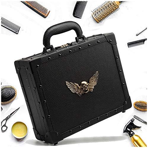 YUXINCAI Kit de peluquería Tijeras portátiles Caja de Maletas Peluquería Profesional Retro Nueva Personalidad Cráneo Uñas Salón Estuche cosmético