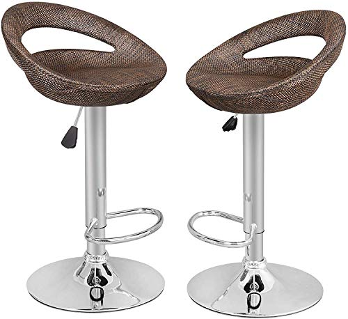 SUPER DEAL Adjustable Pub Wicker Barstool ALL Weather Patio Bar Stool Indoor/Outdoor w/Gas Lift 25-34 inch, Open Back and Chrome Steel Footrest