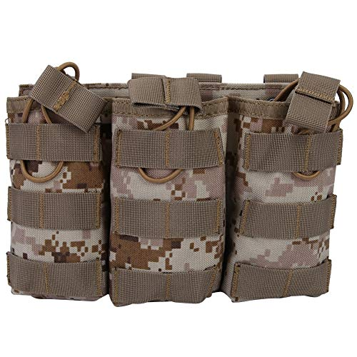 Triple Open Top Magazine Molle Pouch Drawstring Compact Military Tactical Bag Utility Gadget Belt Waist Bag Portable Fanny Hip Belt Hanging Pack Sports Storage Bag for Vest Outdoor Accessory (AOR1)