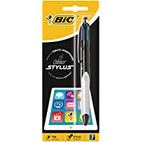 BIC 4 colores Stylus bolígrafos punta media (1,0 mm) - Grip Verde o Gris, Blíster de 1 Unidad