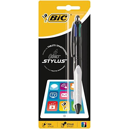 BIC 4 Colores Stylus - Bolígrafos de punta media (1.0 mm), grip verde o gris, blíster de 1 unidad, con punta blanda de lápiz digital