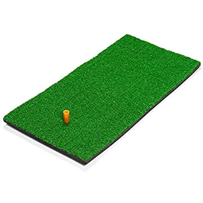 Gonioa Golf Mat Residential Practice Hitting Mat, Realistic Grass Putting Mats Portable for Chipping, Putting Golf Practice and Training with Rubber Tee Holder- 12x24 Incehes