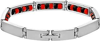 Stainless Steel Link Wristband Inside Evil Protection Beaded Elegua Bracelet