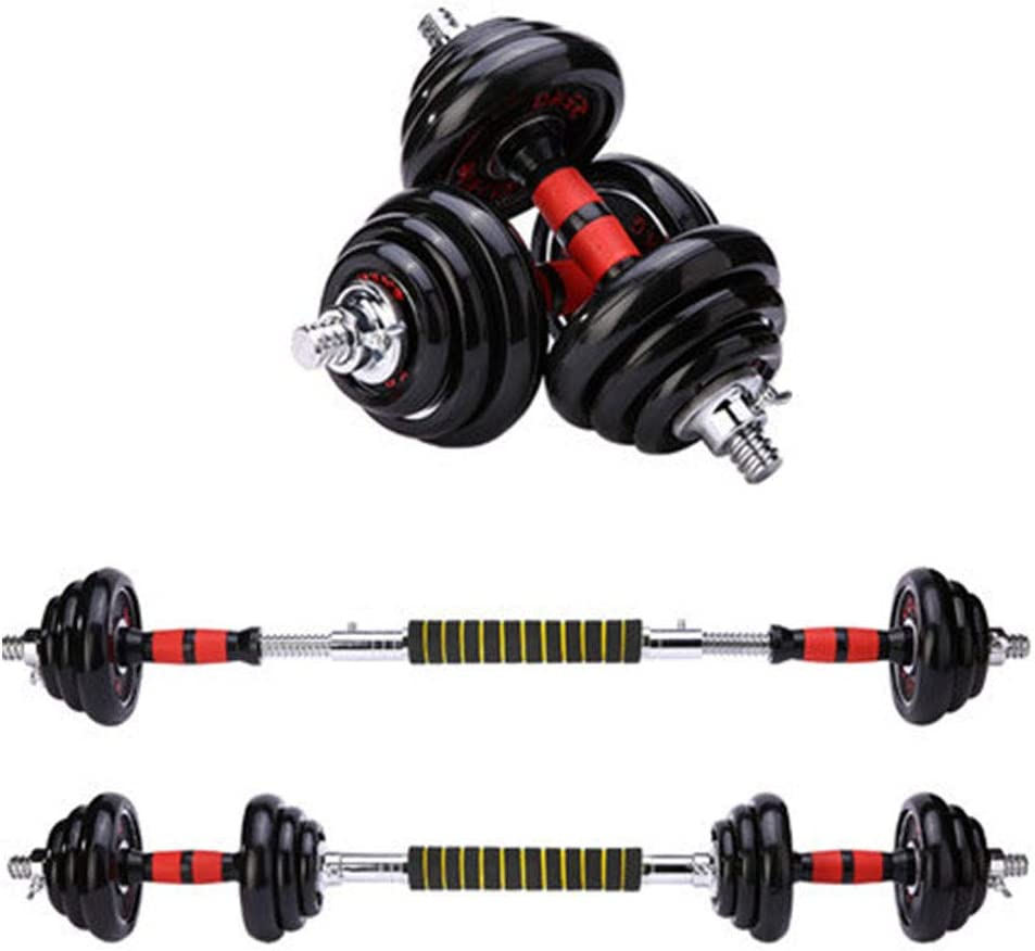 Size:15 kg CCK Juego de Mancuernas con Pesas Mancuernas Ajustables 2 en 1 con Conector Equipo de Fitness para el hogar con Peso Ajustable Adecuado para Todo Tipo de Entrenamiento 15//20//30 kg