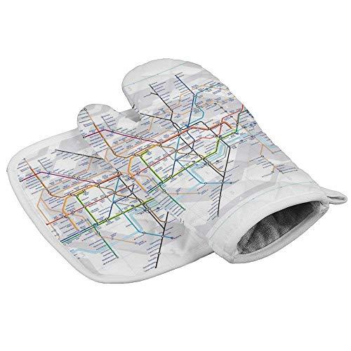 QUEMIN Mitones y Porta ollas para Horno del día de San Patricio Mapa del Metro de Londres Guantes aislados y Alfombrillas seguras para encimera de Cocina para cocinar, Barbacoa, Hornear, Parrilla