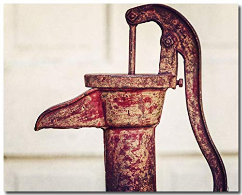 Red Kitchen Decor, Rustic Kitchen Art, Vintage Crimson Pitcher Pump, Water Faucet Photograph, Laundry Room Wall Art