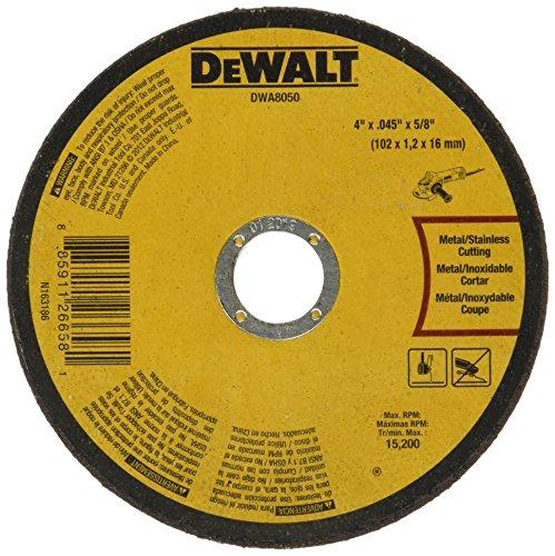 DEWALT DWA8050 rueda de corte de metal, 4 pulgadas x .045 pulgadas x 5/8 pulgadas