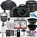 Nikon D3500 DSLR Camera with 24.2MP Sensor, NIKKOR 18-55mm f/3.5-5.6G VR Lens, 2 Pack Sandisk 32GB Memory Card, Bag, Tripod, Flash Light + A-Cell Accessory Bundle (32GB)