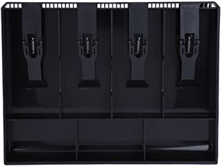 Bandeja de caja Bandeja de inserción Bandeja de inserción Reemplazo de plástico 4 Billetes 3 Compartimientos de monedas Caja de almacenamiento de dinero 12.6 x 9.6 x 1.4 pulgadas(Negro)
