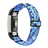 WONMILLE Stretchy Bands Compatible with Fitbit Charge 2, Classic & Special Edition for Women Men, Elastic Adjustable Soft Nylon Sport Strap Charge 2 HR Wristband Accessories (Starry Sky)