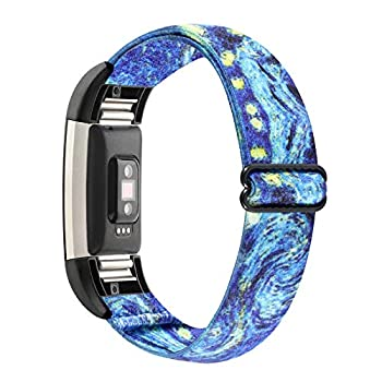WONMILLE Stretchy Bands Compatible with Fitbit Charge 2 Classic & Special Edition for Women Men Elastic Adjustable Soft Nylon Sport Strap Charge 2 HR Wristband Accessories  Starry Sky