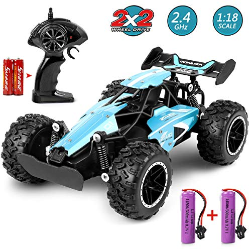 MOSFiATA G03063R RC 1:18 Scale 2.4Ghz Remote Control Trucks, 15-20 km/h High Speed Racing 2 Lithium Rechargeable Batteries, Electric Toy Car for All Adults & Kids, Blue