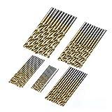 QWSX Broca de Calidad 50 unids Titanio Revestido Brocas bits H S S High Steel Steel bits bits Set Tool Herramienta de alimentación 1/1.5/2 / 2.5 / 3mm Rendimiento Estable