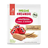 Freche Freunde Bio Babykekse Dinkel-Erdbeere, ohne Zuckerzusatz, mit Obst, für Babys ab 8. Monaten, vegan, 7er Pack (7 x 100g)