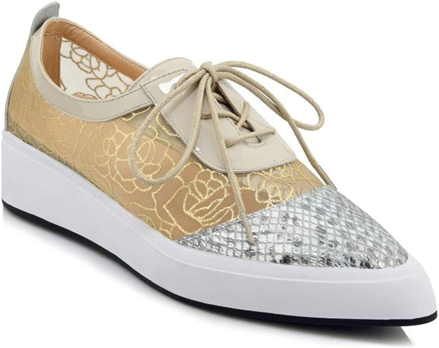 Women's Fashion shoes New Spring Lace Up Deck shoes Leather + Mesh Ladies Low-Top Casual shoes Sequin Pointed Flat Platform shoes,gold,38
