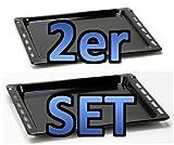 SET bestehend aus 2 Teilen Backblech 16mm Höhe (481241838128/481010683241)+Backblech 27mm Höhe (481241838138/481010683239)-passend für diverse Herde von Bauknecht/Whirlpool mit 445mm Breite -
