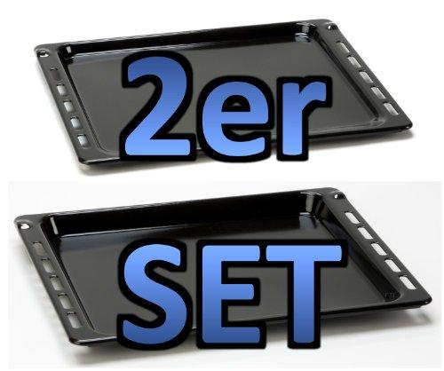 SET bestehend aus 2 Teilen Backblech 16mm Höhe (481241838128/481010683241)+Backblech 27mm Höhe (481241838138/481010683239)-passend für diverse Herde von Bauknecht/Whirlpool mit 445mm Breite