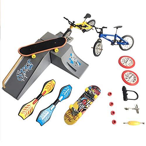 XHXseller Simulation Bikes Mini-Finger-Skateboards und Fahrräder, Fingerspielzeug, Fingerboard, Mini-Fingersport-Skateboard/Fahrräder/Schaukelbretter für Partygeschenke, pädagogisches Fingerspielzeug