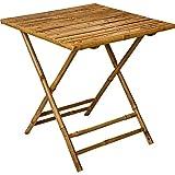 Meubletmoi Tanza 5729 - Mesa de jardín cuadrada plegable para 2 personas, de bambú