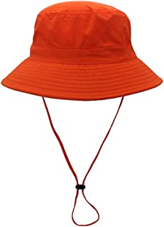 Vadeytfl Unisex Outdoor Bucket Hat Fisherman Hat Sun Hat Wide Brim Summer UV Protection Beach Hat -Foldable Adjustable Chin Strap (Color : Orange)