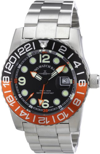 Zeno Watch Basel Herren-Armbanduhr XL Quarz Analog Edelstahl 6349Q-GMT-a1-5M