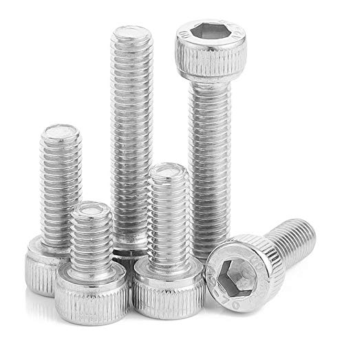 XFentech 100 Piezas Tornillos de Cabeza Hueca - M4*(4-25mm) Acero Inoxidable Tornillo de Máquina Perno Hexagonal Hilo Completo Tornillos para Metales - M4*8mm