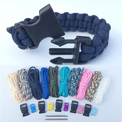 Paracord Armbänder Schnüre Set, Bliqniq 25er Prachute Cord Nylon Seil Fallschirmleine mit 11 Verschlüsse und 2 Nadel für Herren und Damen Survival Outdoor Armband und Hundehalsband
