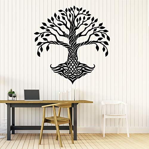 22 x 23 in Celtic Decal Wall Art Decor - Celtic Tree of Life Vinyl Stickers - Inspirational Quotes Sayings Nature Irish Cross Dragon Sun Moon Raven Ethnic Bird Skull Ornament Room CE017