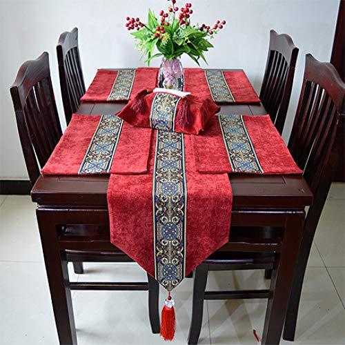 MICOKY Tischläufer beige einfache Garten Seidenbrokat Tischdecke Tischdekoration 33 * 220